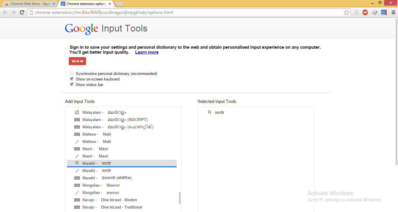 Google Input Tools Options