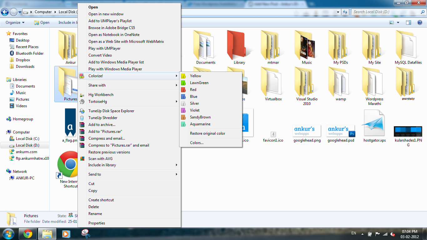 Folder Colorizer in context menu