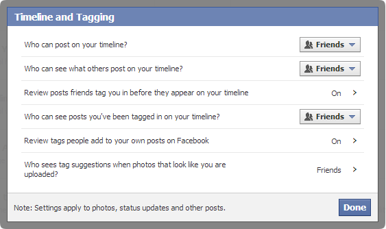 Facebook-Timeline And Tagging Options