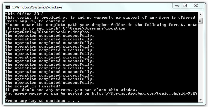 Dropbox Integration Successful