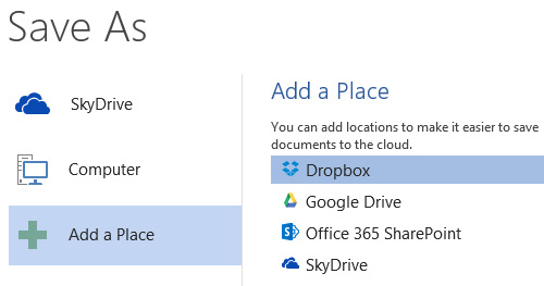 Adding Dropbox