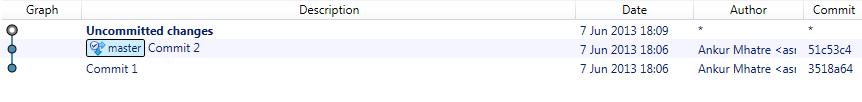 Git reset commit result
