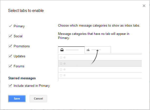 Gmail Inbox Tabs Settings